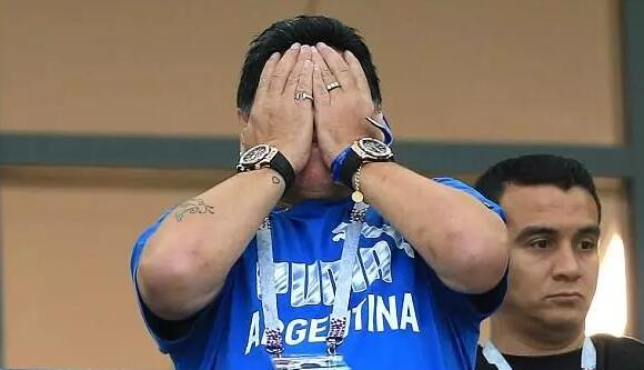 Maradona's eyes were wet when he witness the failure of Argentina.